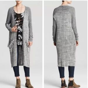 Free People Ribbed Knit Duster Cardigan Sweater